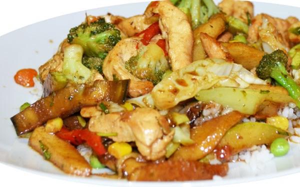 Image result for пилешко печено, со мешан зеленчук и тестенини